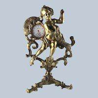 Large 19th Century Gilt Bronze Cherub & Spaniel Dog Pocket Watch Holder