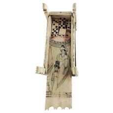 Napoleonic Prisoner of War Scrimshaw Domino Box with Dominoes