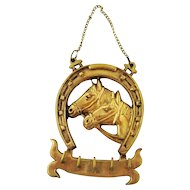 Vintage Brass Equestrian Horse and Horseshoe Bridle Rack