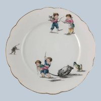 Antique Childs Plate Two Boys Playing with a Rat, Duck and Cat – German