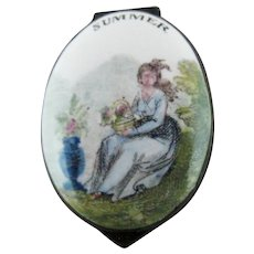 Battersea Bilston Enamel – SUMMER - Seasons – Patch Box C 1780