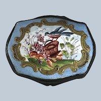 Battersea Bilston Enamel Snuff Box Bird Fruit Basket – circa 1800