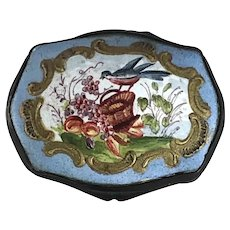 Battersea Bilston Enamel Snuff Box Bird Fruit Basket – circa 1800