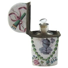 18th C Battersea Bilston Enamel Etui Scent Perfume Bottle