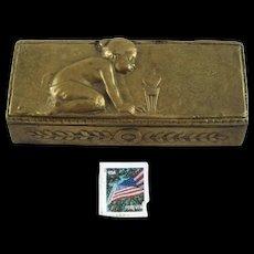 Antique Bronze Stamp Box Child -  Signed P. Tereszczuk