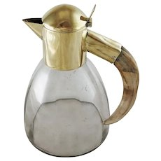 Mid Century Modern German Boar Tusk Handle Decanter, Pitcher, Carafe