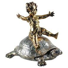 Bronze Girl Riding Turtle Dore Bronze Christofle  C 1890