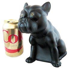 Large Vintage Glass Czech French Bull Dog  - 7 inches Tall