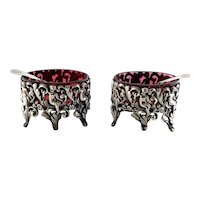 Pair Antique French Sterling Silver Cranberry Cherub Master Open Salts with Spoons