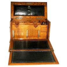 Victorian Oak Campaign Traveling Lap Desk, Letter Holder - C 1890