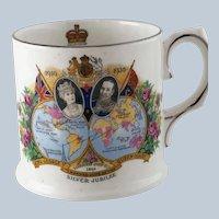 King George V Silver Jubilee Mug Commonwealth Maps