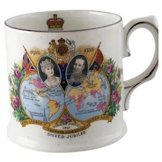 King George V Silver Jubilee Mug Commonwealth Maps