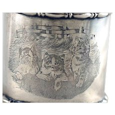Cats in Basket Napkin Ring Sterling Silver – c 1900