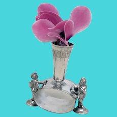 Victorian Napkin Ring Winged Cherubs Posy Flower Holder – Silver Plate