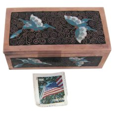 Chinese Cloisonné Postage Stamp Box with Butterfly