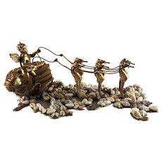 Antique Large Dore Bronze Winged Cherub Clam Shell Seahorses