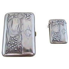 German Art Nouveau Woman Cigarette Case and Match Safe Vesta – 800 Silver