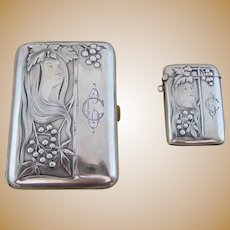 German Art Nouveau Woman Cigarette Case and Match Safe Vesta – 800 Silver