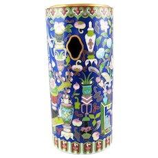 "Meiji Chinese Fine Cloisonne Cylinder Hat Stand – 12"""