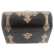 Brass Bound Leather Dome Top Document Stationery Box – c 1890