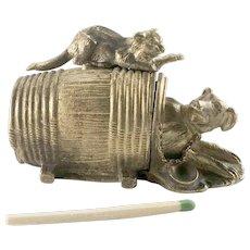 Victorian Bronze Cat Dog Table Match Safe Holder Striker