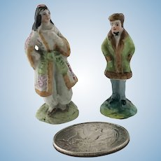 Two Miniature 19th c Staffordshire Figurines Man Woman Doll House
