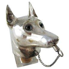 Antique German Shepherd Dog Head Decanter Bottle Stopper - SP
