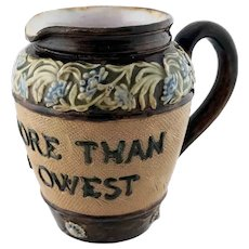 Small 1892 Doulton Motto Jug Pitcher - Lend More by Artist Annie Partridge