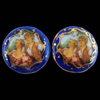 Two Vintage Enamel Discs Courting Couple – c 1920