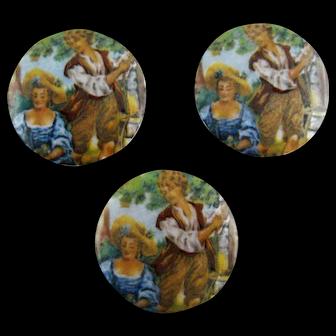 Three Vintage Enamel Discs Courting Couple – c 1920