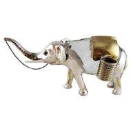 Rare Figural Elephant Decanter Glass and Silver Plate - Austria c 1910