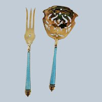 Gilded Sterling Silver Guilloche Enamel Fork and Slotted Spoon