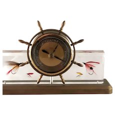 Vintage Barometer Ships Wheel Fishing Flies Lucite Brass
