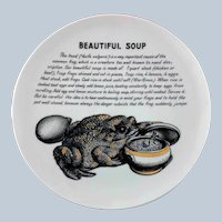 Fornasetti Beautiful Soup Toad Improbable Recipe Plate for Fleming Joffe Leather Co.