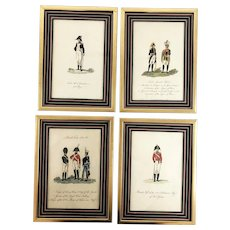 Set Four Antique Napoleonic Era Military Framed Engravings Hand Colored