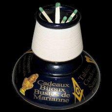 Vintage French Masonic Freemason Match Striker – Table Vesta