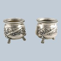 Pair French Sterling Silver Aesthetic Movement Open Salts – Edouard Ernie
