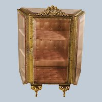 Antique Late 19th Century French Ormolu Decorative Beveled Glass Vitrine