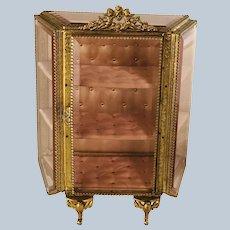 Antique Late 19th Century French Ormolu Decorative Beveled Glass Vitrine
