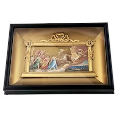 Circa 1860 Wood Ormolu Shadow Box Framed Mythological Print – French