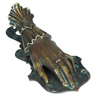 Victorian Bronze Ladies Hand Paperclip with Registry Marks – c 1844 - Large