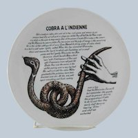 Fornasetti Cobra a l'Indienne Improbable Recipe Plate for Fleming Joffe Leather Co.