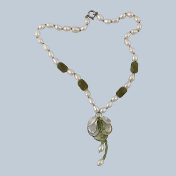 Vintage Fresh Water Pearl and Shell Flower Drop Necklace