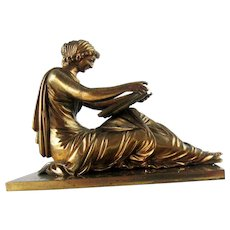 Antique Bronze Grecian Lady Reading Paperweight, 19th c.