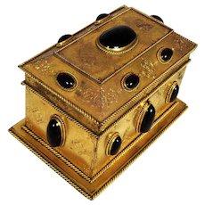 Large Gilt Bronze & Glass Garnet Stationery Box Casket – Napoleon III