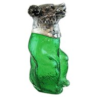 Vintage Green Glass Figural Bear Decanter – Silver Plate Hallmarked