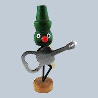 Mid-Century Green Man Moustache Guitar Magnetic Bottle Opener Holder