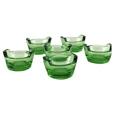 Set Six Vintage Green Glass Bucket Open Salt Cellars