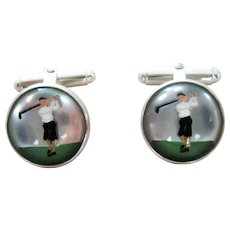 Pair Vintage Lady Golfer Essex Crystal Sterling Silver Cufflinks - Vincent Simone