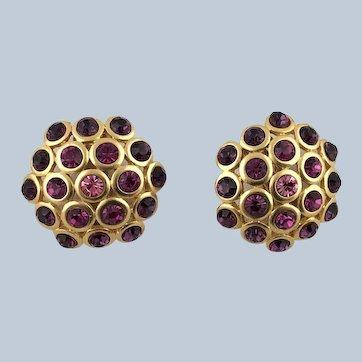 1980'2 Large Gem Craft Rhinestones Gold Tone Clip-On Earrings